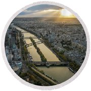 Paris Sunrays Dusk Along The Seine Round Beach Towel