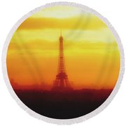 Paris Through The Haze Round Beach Towel