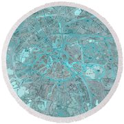 Paris Traffic Abstract Blue Map Round Beach Towel