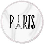 Paris Typography Round Beach Towel