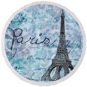 Paris - V01t01a Round Beach Towel