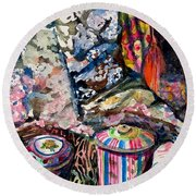 Paris Window Round Beach Towel