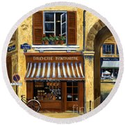 Parisian Bistro And Butcher Shop Round Beach Towel by Marilyn Dunlap