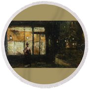 Parisian Boulevard At Night Round Beach Towel