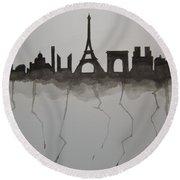 Parisian Skyline Silhouette Round Beach Towel