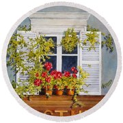 Parisian Window Round Beach Towel