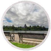 Park Bench Along Capitol Lake In Olympia Washington Round Beach Towel