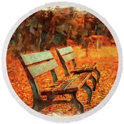 Park Bench In Fall Round Beach Towel