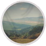 Park Bench Series - Misty Mountains Round Beach Towel