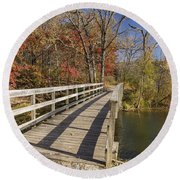 Park Bridge Autumn 2 Round Beach Towel