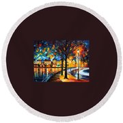 Park By The River Round Beach Towel