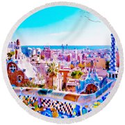 Park Guell Watercolor Painting Round Beach Towel