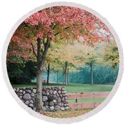 Park In Autumn/fall Colors Round Beach Towel