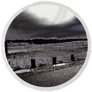 Park In The Moonlight Round Beach Towel