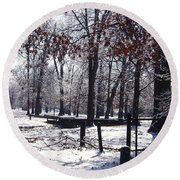 Park In The Snow Round Beach Towel