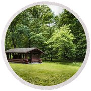 Park Shelter In Lush Forest Landscape Round Beach Towel
