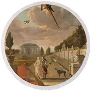 Park With Country House, Jan Weenix, 1670 - 1719 Round Beach Towel