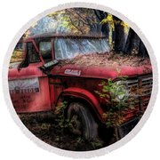 Parked On A Country Road Oil Painting Round Beach Towel