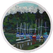 Parked Yachts Round Beach Towel