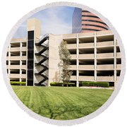 Parking Garage Round Beach Towel