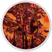 Parking Lot Palms 1 11 Round Beach Towel