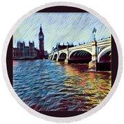 Parliament Across The Thames Round Beach Towel