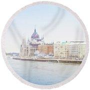 parliament in  Budapest Round Beach Towel