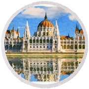 Parliament Of Budapest Round Beach Towel