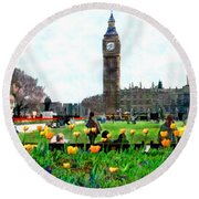 Parliament Square London Round Beach Towel