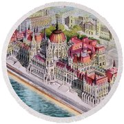 Parliment Of Hungary Round Beach Towel by Charles Hetenyi