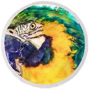Parrot Ara Watercolor Painting Round Beach Towel