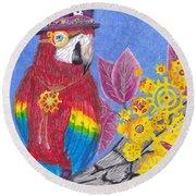 Parrot In Gear Tree Round Beach Towel
