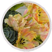 Parrot Tulips And Desert Succulents Round Beach Towel