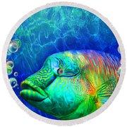 Parrotfish - Rainbow Spirit Round Beach Towel