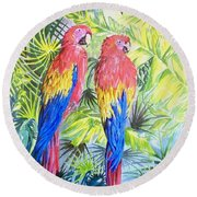 Parrots In Jungle Round Beach Towel