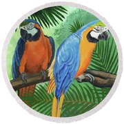 Parrots In Light And Shade Round Beach Towel