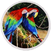 Parrots In The Jungle Round Beach Towel