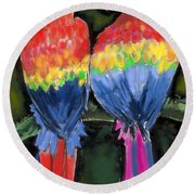 Parrots Round Beach Towel