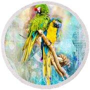 Parrots Round Beach Towel