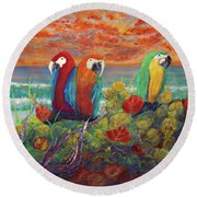 Parrots On Sunset Beach Round Beach Towel
