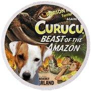 Parson Russell Terrier Art Canvas Print - Curucu  Movie Poster Round Beach Towel