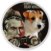 Parson Russell Terrier Art Canvas Print - Rear Window Movie Poster Round Beach Towel