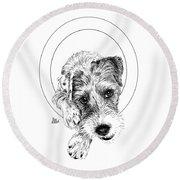Parson Russell Terrier @elmo.parson Round Beach Towel