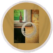 Part Of Fireplace Mural Round Beach Towel