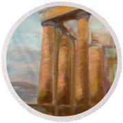 Parthenon Round Beach Towel
