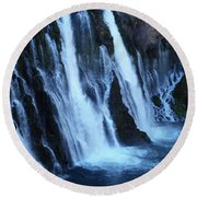Partial Side View Of Burney Falls Ca Round Beach Towel