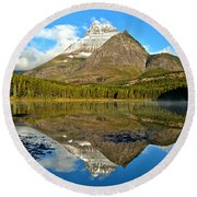 Partly Cloudy Fishercap Reflections Round Beach Towel