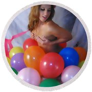 Party Balloon Round Beach Towel