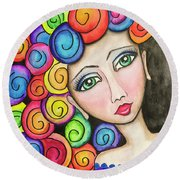 Party Girl Round Beach Towel