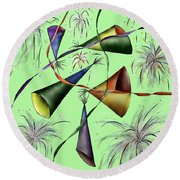 Party Hat Abstract  Round Beach Towel